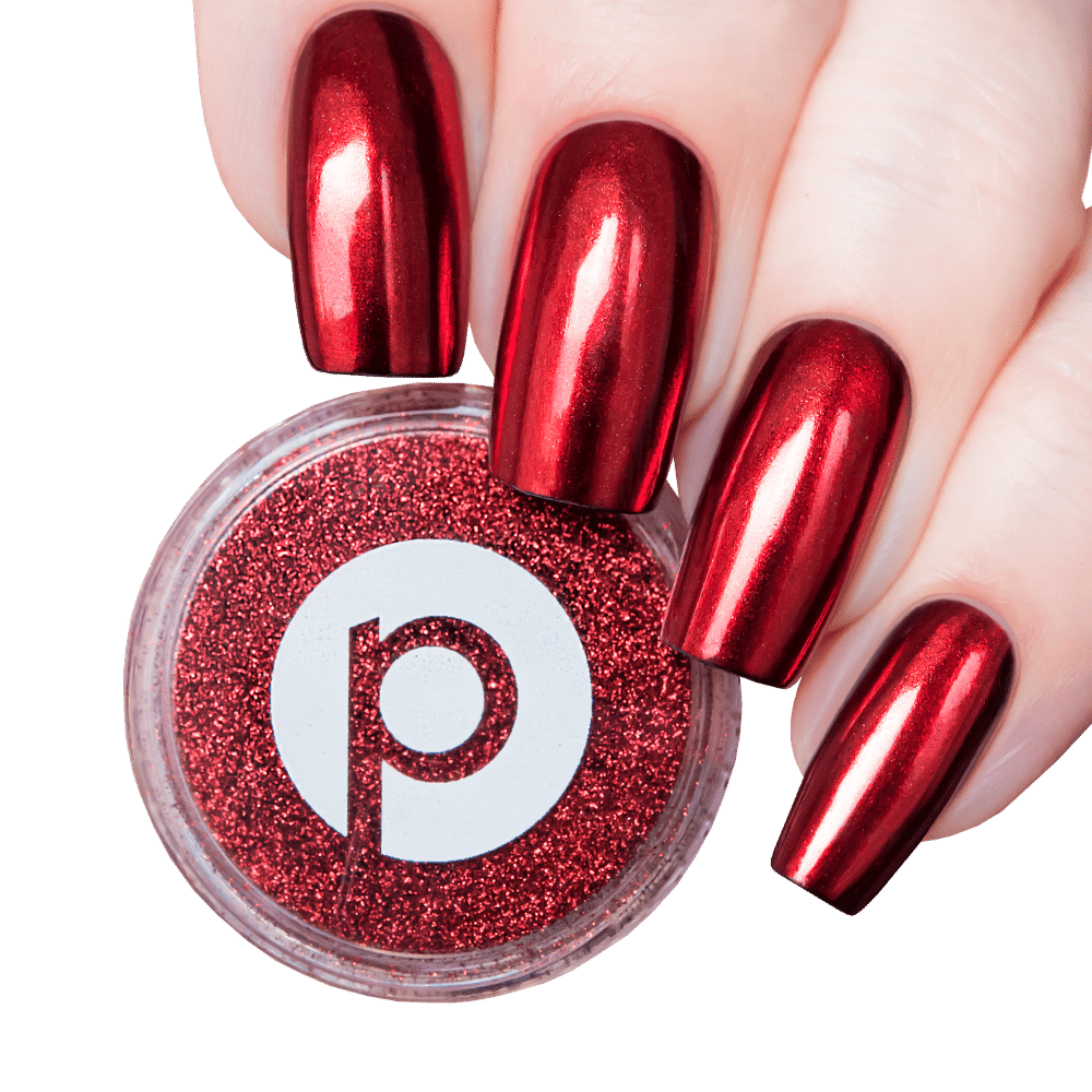 Red Chrome Nails Red Nail Powder Picture Polish