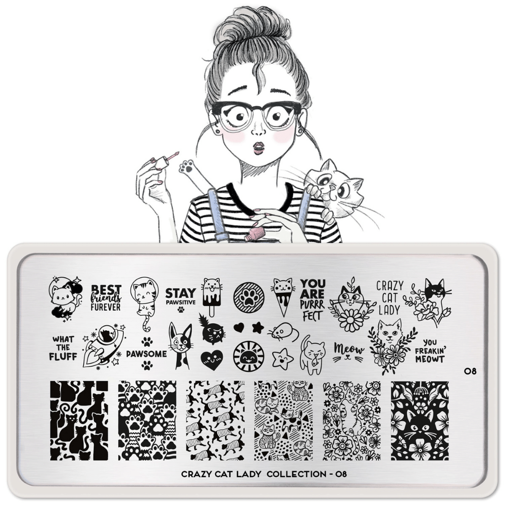 Stamping Plate Crazy Cat Lady 08