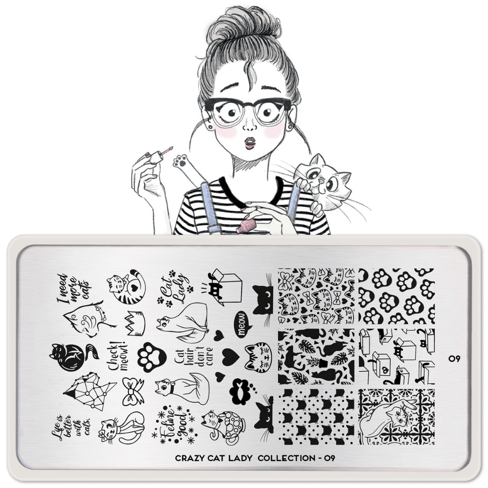 Stamping Plate Crazy Cat Lady 09