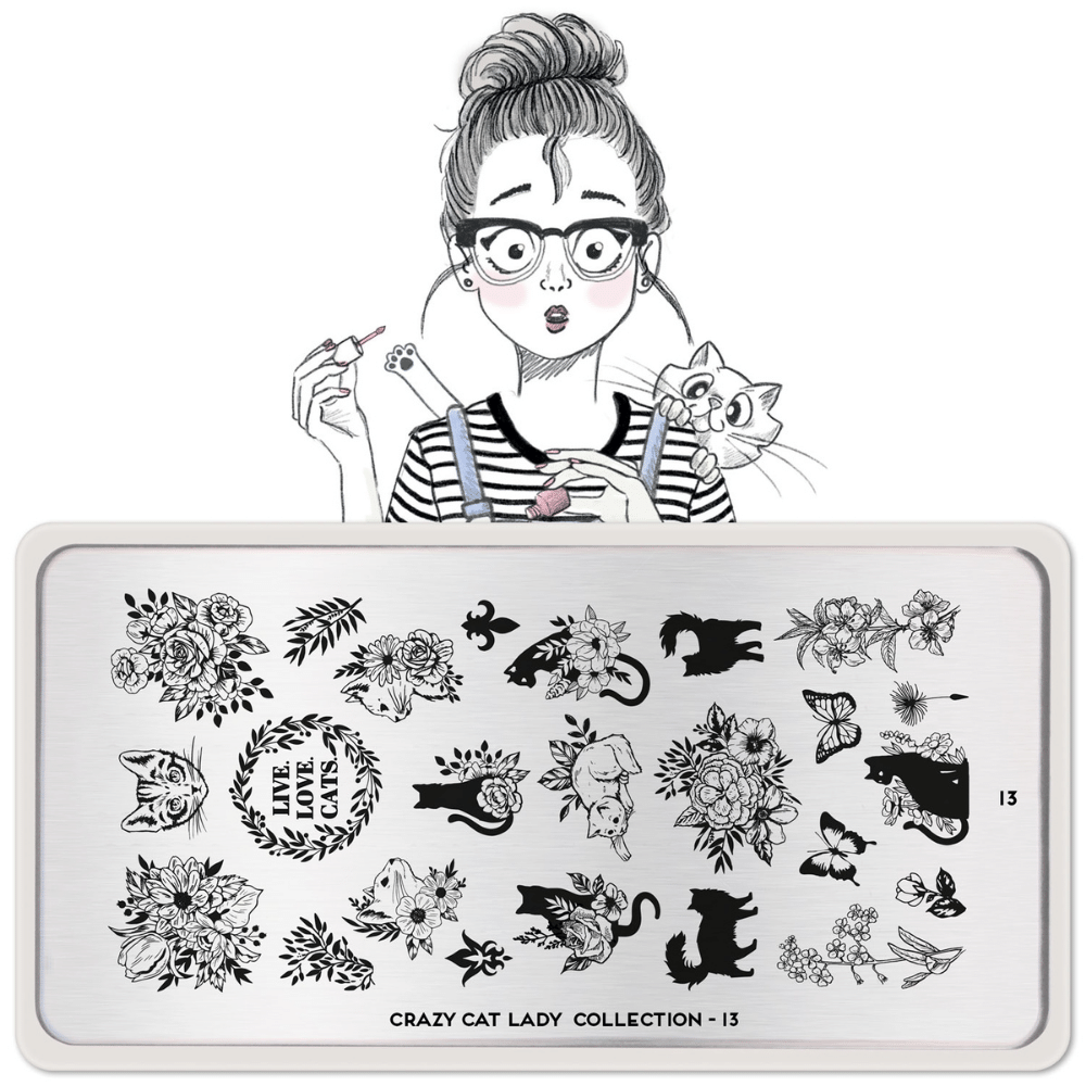 Stamping Plate Crazy Cat Lady 13