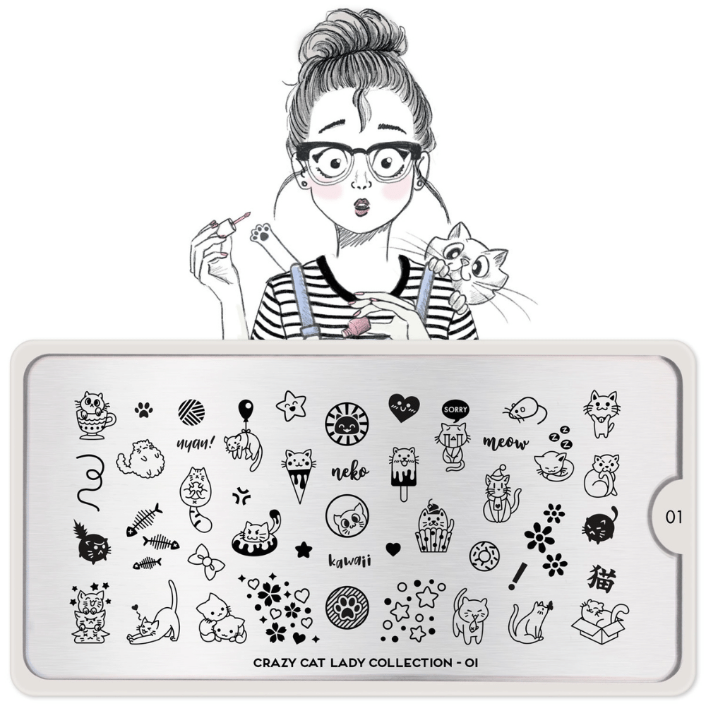 Stamping Plate Crazy Cat Lady 01